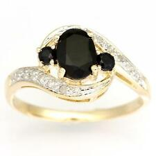 1.51CT Natural Black Sapphire & 14 Diamond 9K Yellow Gold Ring Fine Jewellery