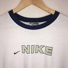 Vtg 90s NIKE Long Split Sleeve Shirt White Mens MEDIUM
