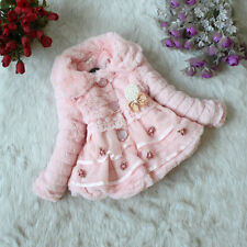 Toddler Baby Girls Faux Fur Fleece Jacket Kids Winter Warm Coat Outwear Snowsuit