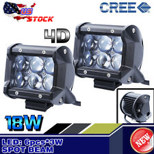 2X 4D 18W 4Inch CREE Led Work Light Bar Spot light Offroad ATV Truck 4WD Lamp
