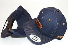 New HOOey BLUE DENIM HAT CAP Rodeo Western Cowboy Leather adjustable back strap