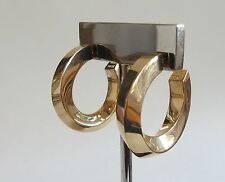 14K YELLOW GOLD 585 CLASSIC T & Co  TIFFANY  Post Twist  HOOP Estate EARRINGS
