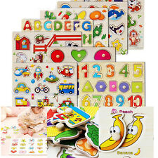 1 Pcs Hand Grasp Wooden Puzzle Toy Cartoon Educational Jigsaw Toy for Kids TB