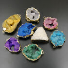 Natural Druzy Quartz Agate Geode Sliced Connector Bracelet Beads Pendant Jewelry