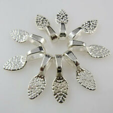 10940 500PCS Silver Tone Oval Glue on Bails Pendant FOR Necklaces Setting & Loop