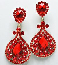 """3.5"""" Long Red Gold Dangle Crystal Rhinestone Pageant Wedding Clip On Earring"""