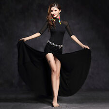 New 2016 Women Mesh Belly Dance Costume Stage Performance Club Long Dress M L