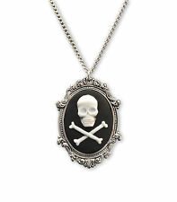 Skull & Crossbones Cameo in Antique Silver Pewter Frame Pendant Necklace NK-654