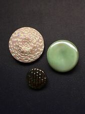 Vintage White & Green Glass Buttons Fancy Luster Button Lot 36-7