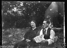 Ancien négatif photo plan film plaque 9x12 Portrait couple journal Le Télégramme