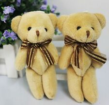 1pcs Cute Soft Plush Stuffed Mini Brown Ribbon Teddy Bear Toys Doll for Bouquet