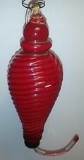 Large HUMMINGBIRD Feeder RED HAND BLOWN GLASS SINGLE FEEDER Very Good Condition