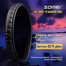 Zomei 72mm Ultra Slim Multi-Coated HD ND2-400 Fader Variable ND Filter For