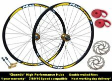 700c Hybrid Bike Bicycle 8/9/10 Speed Disc Brake Wheel Set Quando Hubs + Rotors