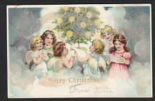 Christmas-Cute Angels-Decorated Tree-Applied Glitter-Antique Postcard