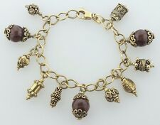 Sterling Silver 925 Gold Vermeil Etruscan Style Fob Charm Bracelet - 7.5""