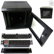 "10 "" 6U per installazione in 300mm Muro Armadietto + C5E PATCH PANEL + PDU + PENNELLO BAR dati Rete Rack"