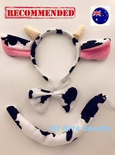 Lady Kid Child Boy Girl baby Cow Costume Ear tail Party Hair head band Prop set