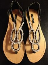 Brand New Forever 21 Black Crystal Sandals Flats Zipper, Size 6