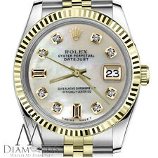 Men`s Rolex 36mm Datejust2Tone White MOP Mother Of Pearl 8+2 Diamond Dial