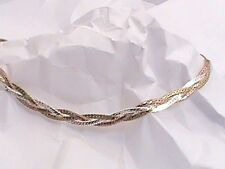 """14K White Yellow Pink Tri Gold On .925 Braided Triple Anklet Ankle Bracelet 10"""""""