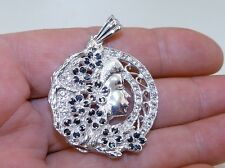 GENUINE! 1.10ct Sapphire & White Topaz Abstract Pendant Sterling Silver 925!