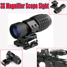 3X Magnifier Scope Sight with Flip To Side 20mm Rail Mount Scopes New F Sight UK