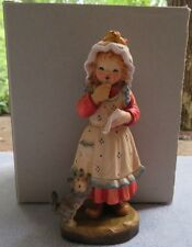Anri Hand Carved Wooden Figurine May I, Too? Girl Kitten 68/1000 Ferrandiz w Box