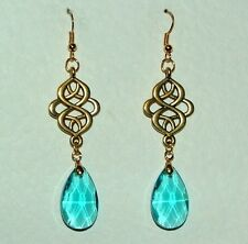 VICTORIAN PERSIAN STYLE TURQUOISE FACETED GLASS CRYSTAL GOLD PL EARRINGS