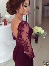 Sexy Burgundy Long Sleeve Mermaid Prom Dresses Formal Evening Party Bride Gowns