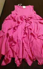 NWT Lemon Loves Lime spring summer hot pink cascading ruffles dress size 8