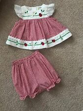 Little Bitty Baby Girl Seersucker Dress With Bloomers Size 6-9 Months