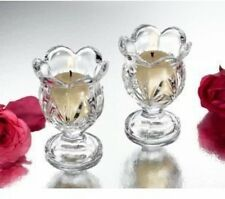 Elegant Set of 2 Small Hurricane Clear Glass Votive Tealight Candle Holders GIFT