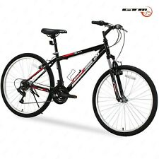 "26"" Mountain Bike Black Red 18 Speed Bicycle Shimano Hybrid School College Sport"
