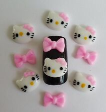 10/20pcs x 3D Acrylic Nail Art *Hello Kitty & Glitter Bows* Kawaii Nail Craft