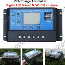 12V/24V 20A PWM Solar Charge Controller w/ LCD Display Auto Switch Dual USB Home