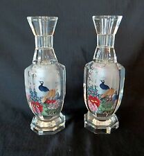 A PAIR VINTAGE CHINESE REVERSE PAINT CRYSTAL VASE PEACOCK HAND PAINTED