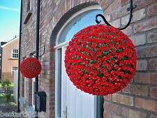 2 Best Artificial 38cm Red Rose Topiary Hanging Flower Balls Grass Plant New