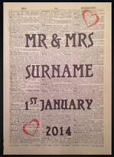 Vintage MR & MRS Personalised Wedding Print Dictionary Page Wall Art Picture