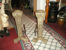 Antique Cast Iron Metal Medieval Gothic Andirons-Fireplace Inserts-Marked 25