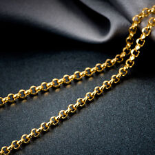 Fine Pure AU750 18K Solid Yellow Gold Necklace / Men&Women Fashion Cable Chain