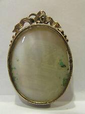 ancien porte photo broche en argent style louis XVI noeud epoque 19 eme nacre