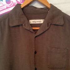 Tommy Bahama Men's Brown Silk Button Front Long Sleeve Shirt Size M