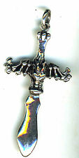 925 Sterling Silver Solid Horned Devil Dragon on Cross Dagger Pendant 60mm 12+ g