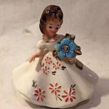 Vtg Josef Originals Girl Zircon December Birthday Month Christmas Figurine Japan