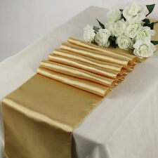 "10 PCS 30cm x 275cm 12""x108"" Satin Table Runner For Wedding Decoration - Gold"