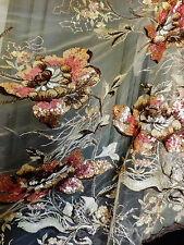 Bridal Wedding Sequin Floral Embroidered Beige Brown Pink Net Lace Fabric BTY