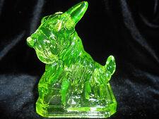 Green Vaseline uranium glass JB scottie dog / paperweight scottish terrier candy