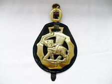 """Large Victorian Horse Brass And Hide Martingale """"The Elephant & Castle Crest"""""""