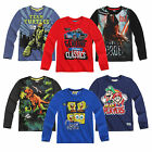 New Boys Long Sleeve T-Shirt Top Mario Star Wars TMNT Age 2-12 Cotton Official